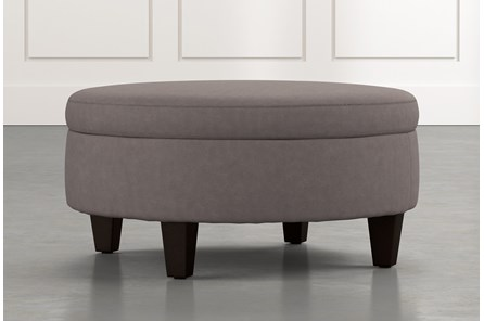Aspen Dark Grey Medium Round Storage Ottoman