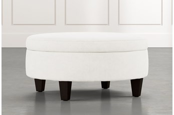 Aspen White Medium Round Storage Ottoman