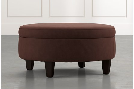 Aspen Brown Medium Round Storage Ottoman