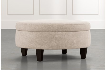 Aspen Beige Medium Round Storage Ottoman