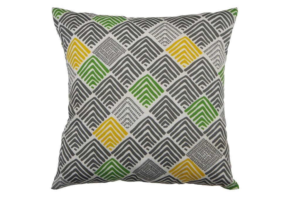 Outdoor Accent Pillow-Green And Yellow Peaks 18X18