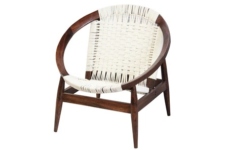 Hand Woven White Rope Round Chair