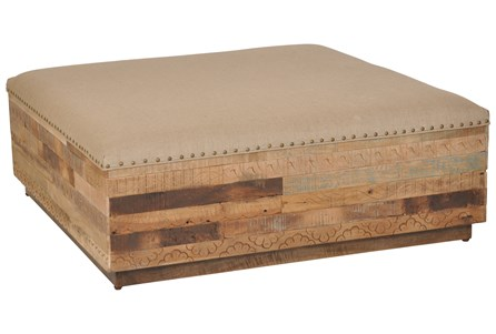 Large Square Hand Carved Beige Ottoman