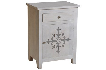 White Wash Galvanized Decal End Table