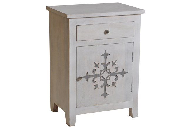 White Wash Galvanized Decal End Table  - 360