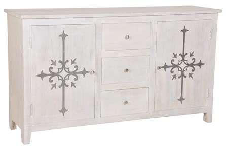 White Wash Galvanized Decal Sideboard