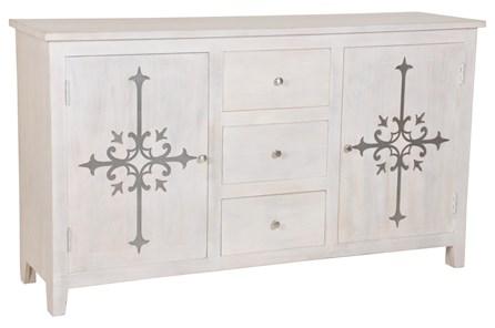 White Wash Galvanized Decal Sideboard