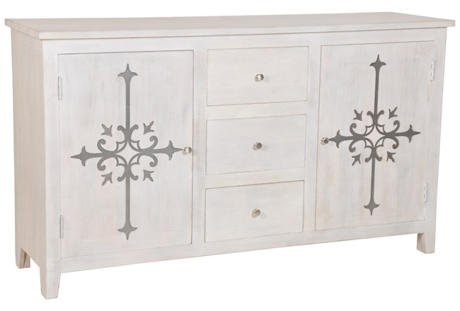 White Wash Galvanized Decal Sideboard - 360