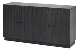 Dark Wood Plinth Base 4 Door Sideboard