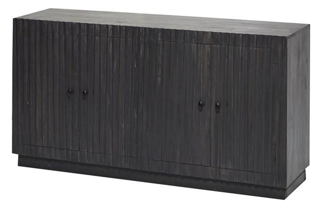 Dark Wood Plinth Base 4 Door Sideboard  - 360