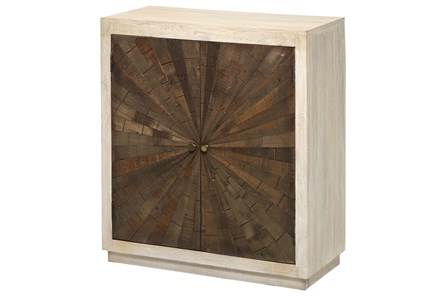 White Wash + Dark Wood Starburst Inlay Cabinet