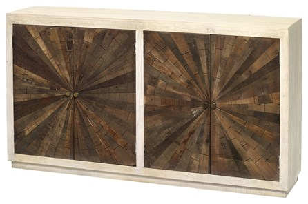 White Wash + Dark Wood Starburst Inlay Sideboard
