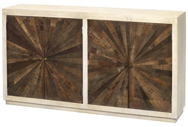 White Wash + Dark Wood Starburst Inlay Sideboard - 360