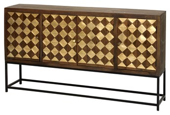 """Mixed Brass Squares 4 Door 80"""" Sideboard On Stand"""