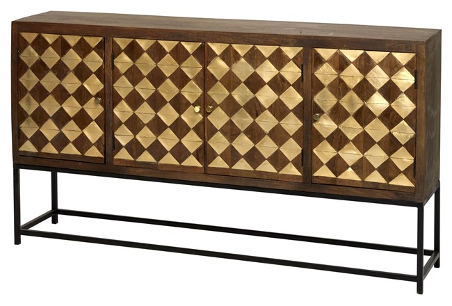 Mixed Brass Squares 4 Door Sideboard On Stand  - 360