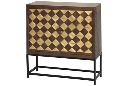 Mixed Brass Squares 2 Door Cabinet On Stand