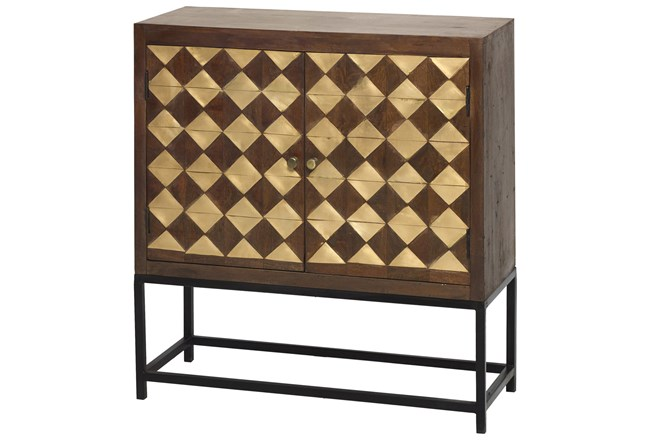 Mixed Brass Squares 2 Door Cabinet On Stand  - 360