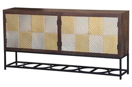 Checkerboard Radii 4 Door Cabinet On Stand
