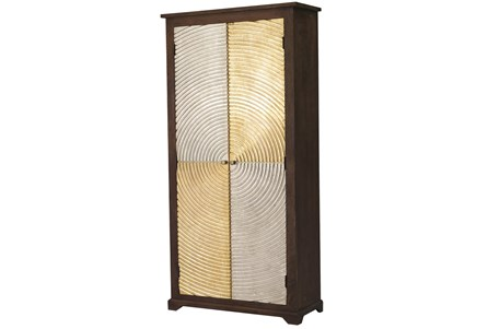Brass + Silver Checkerboard Tall Cabinet