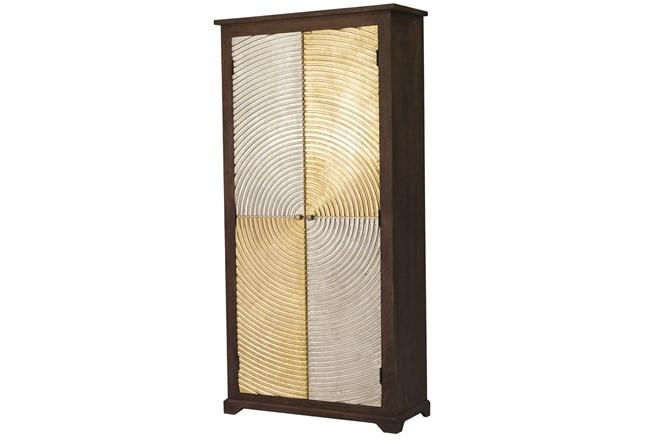 Brass + Silver Checkerboard Tall Cabinet - 360