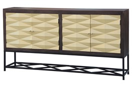 Brass Front 3 Dimensional 4 Door Sideboard