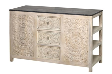 Lace Hand Carved White Wash Kitchen Island