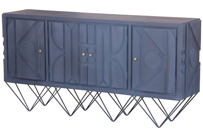 Black Wash Modern 4 Door Sideboard On Stand  - 360