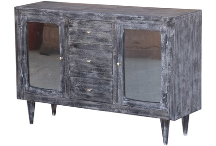 Dark Textured 2 Door 4 Drawer Tinted Glass Sideboard