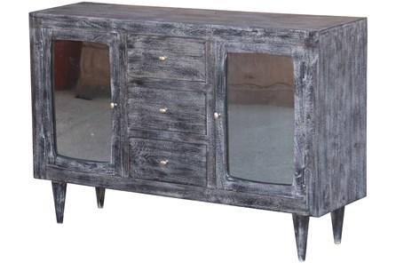Dark Textured 2 Door 4 Drawer Tinted Glass Sideboard