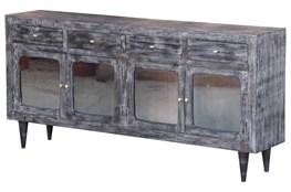 Dark Textured 4 Door Tinted Glass Sideboard