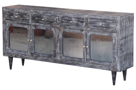 Dark Textured 4 Door Tinted Glass Sideboard