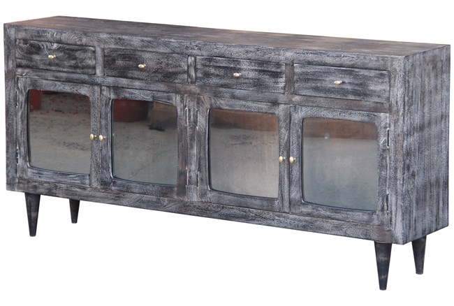 Dark Textured 4 Door Tinted Glass Sideboard - 360