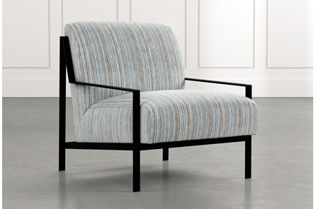 Avery II Light Blue Striped Accent Chair