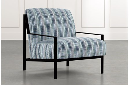 Avery II Blue Striped Accent Chair