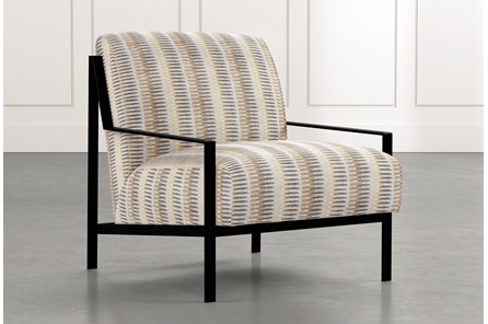 Avery II Beige Striped Accent Chair
