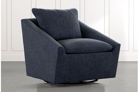 Cypress II Navy Blue Swivel Accent Chair