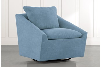 Cypress II Light Blue Swivel Accent Chair