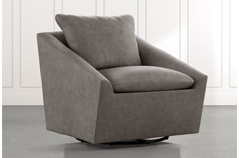 Cypress II Dark Grey Swivel Accent Chair