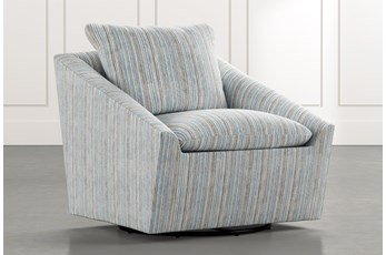 Cypress II Light Blue Striped Swivel Accent Chair