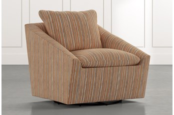 Cypress II Orange Striped Swivel Accent Chair