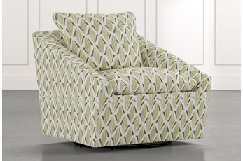 Cypress II Green Geometric Swivel Accent Chair