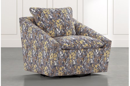 Cypress II Yellow Geometric Swivel Accent Chair