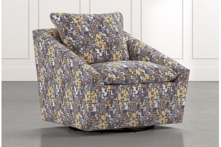 Cypress II Yellow Geometric Swivel Accent Chair