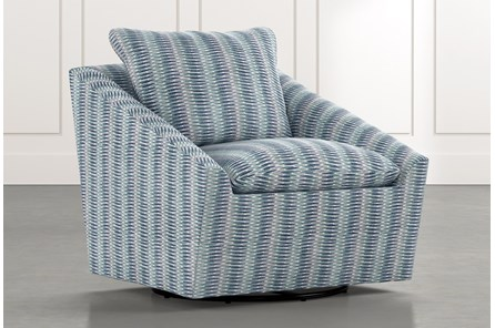 Cypress II Blue Striped Swivel Accent Chair