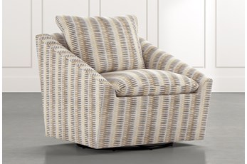 Cypress II Beige Striped Swivel Accent Chair
