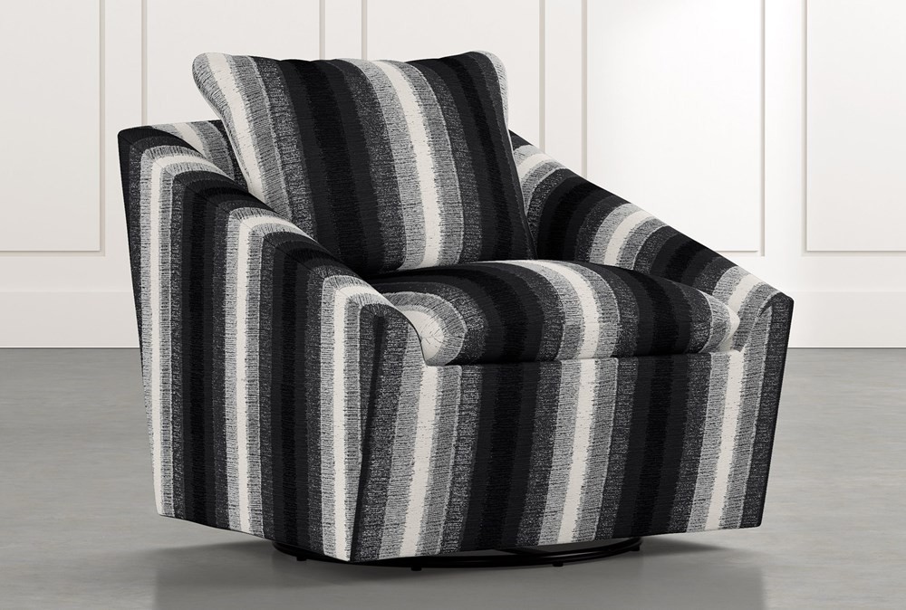 Cypress II Black Striped Swivel Accent Chair