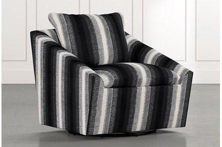 Cypress II Black Striped Swivel Accent Chair