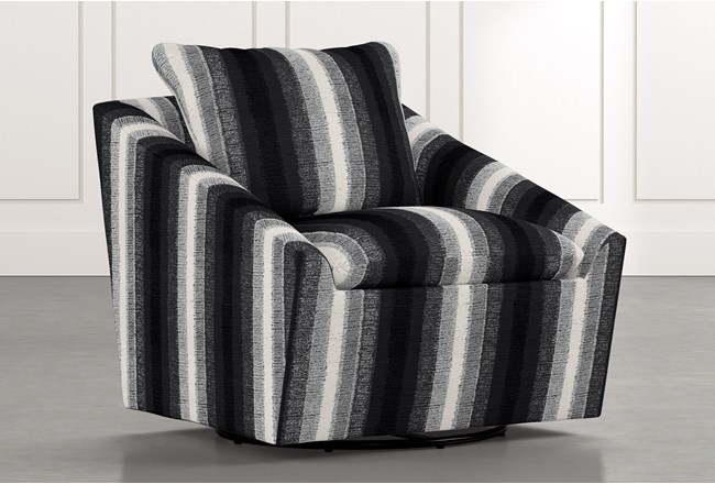 Cypress II Black Striped Swivel Accent Chair - 360
