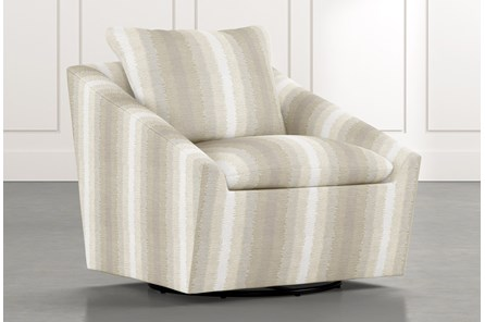 Cypress II Natural Striped Swivel Accent Chair