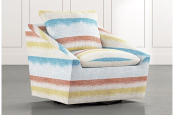 Cypress II Striped Swivel Accent Chair